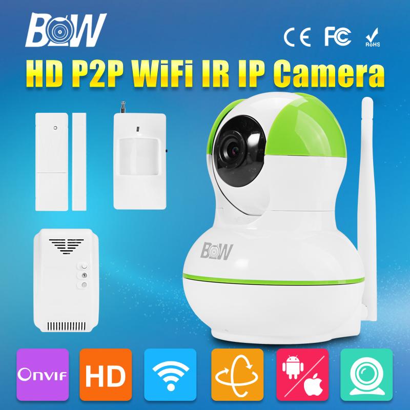 BW ONVIF CCTV IP Camera WiFi 720P Video Surveillance Security Camera Wireless P2P + Infrared Motion & Door Sensor + Gas Detector(China (Mainland))