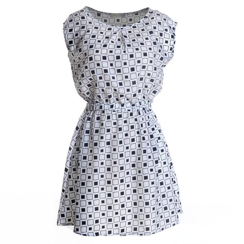 2015 summer in Europe and America Casual Fashion black and white plaid round neck sleeveless chiffon dress waist belt containing(China (Mainland))
