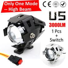 One Mode Hgih Beam 1 PCS 125W 2 Color Motorcycle Motorbike Headlight 3000LMW CREE U5 LED Driving Fog Spot Head Light Lamp(China (Mainland))