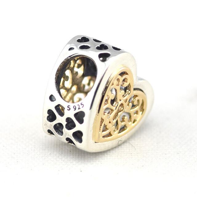 Осень стиль серебряные ювелирные изделия 925 заблокирован в форме сердца 14 К золото бусины Fit пандора оригинальный подвески браслеты DIY ювелирных украшений