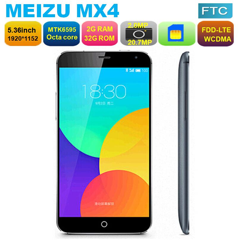 "Original Meizu MX4 4G LTE Cell Phone MTK6595 Octa core 2GB RAM 16GB 32GB 5.36"" IPS OGS 20.7MP OTG GPS WCDMA LTE Flyme4(China (Mainland))"