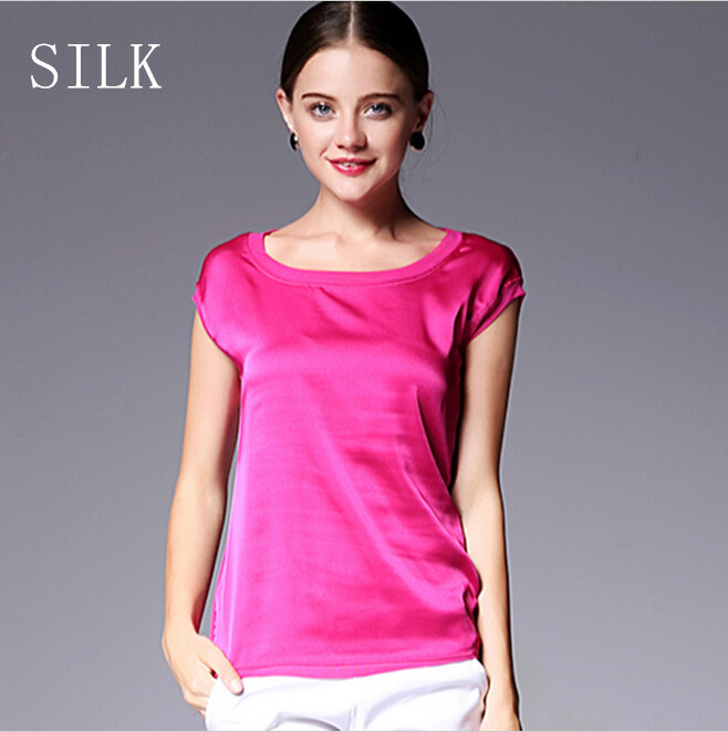 Summer women blouses 2015 new casual chiffon silk blouse slim sleeveless O-neck blusa feminina tops shirts solid 8 color Y048(China (Mainland))