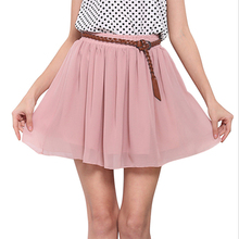 Buy Summer Womens Skirts Retro High Waist Pleated Double Layers Chiffon Short Mini Skirt for $5.80 in AliExpress store