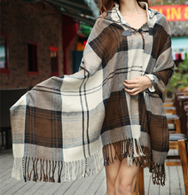 New Women Novelty Autumn Winter Plaid Tartan Poncho Shawl Checked Scarves Cape