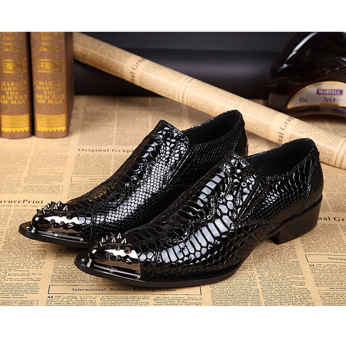 2015 New Arrival Formal Brand Genuine Leather Patent Metal Pointed Toe Printing Dress Shoes Punk Oxford Shoes For Men FPT019<br>