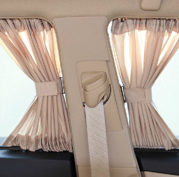 "2 x 2015 New 50S(20""x15"") Aluminum Shrinkable Windowshade Curtain For Auto Car Side Windows - Black/Beige(China (Mainland))"