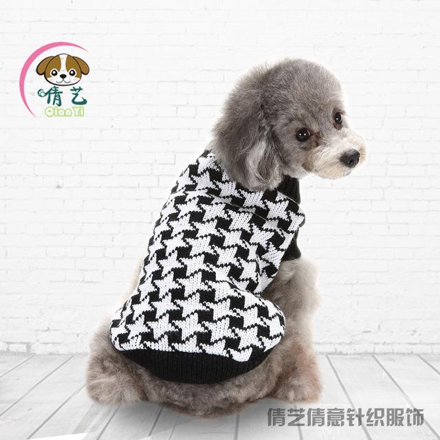 Xl Dog Sweater Knitting Pattern : Autumn winter plaid pattern dog sweater knitting