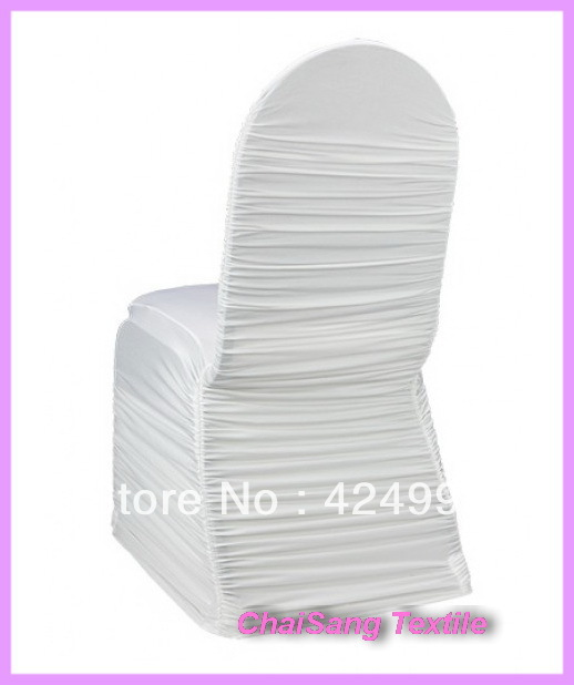 Pure White Ruffled Lycra Chair Cover ,Lycra chair cover for wedding event &Party Decoration(China (Mainland))