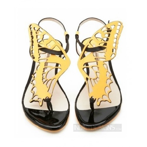 Sophia yellow and black butterfly flat sandals Nude Women Cut-outs Lace Up Sandals Evening Shoes Wedding Heels<br>