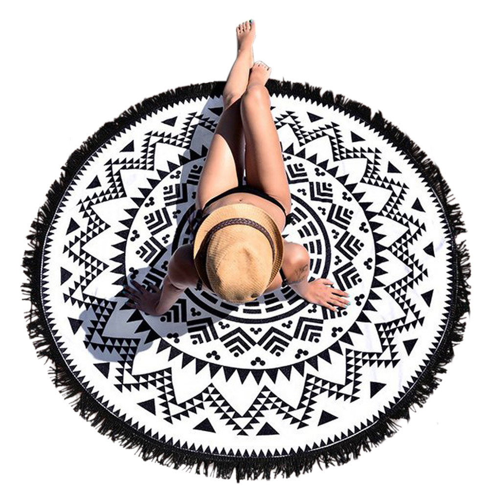 Scolour Indian Round Beach Pool Home Shower Wall Hanging Throw Yo-ga Mat Decor Bohemian Circle Beach Towel Serviette De Plage