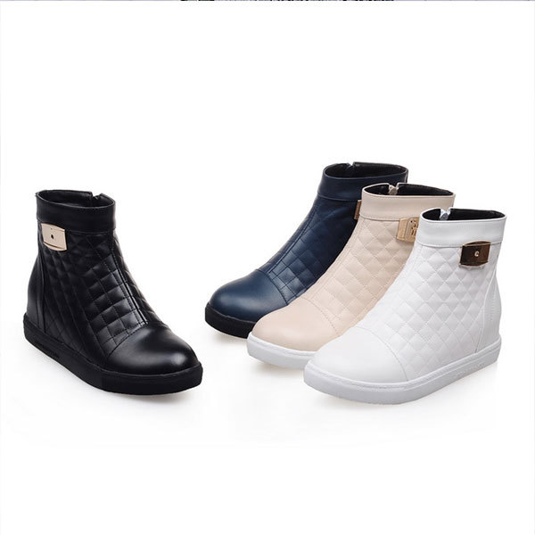 2015 Spring/Autumn New solid color ankle boots comfortable zipper women boots causal round toe wedge heel boots Size33-44 D3170<br><br>Aliexpress