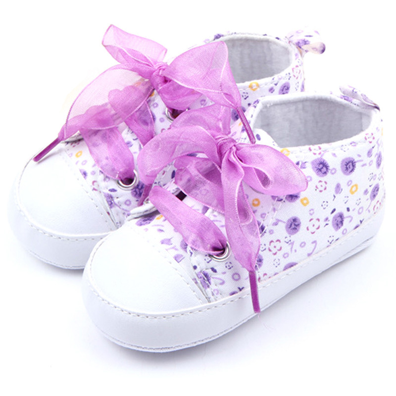 Newborn Toddler Girl Baby Crib Shoes Soft Sole Anti-slip Floral Walk Sneaker 0-12 Months Free shipping