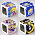 Sailor Moon Alarm Night Light Clock Lovely Popular Square LED Colorful Digital Electronic Clock Japan Anime