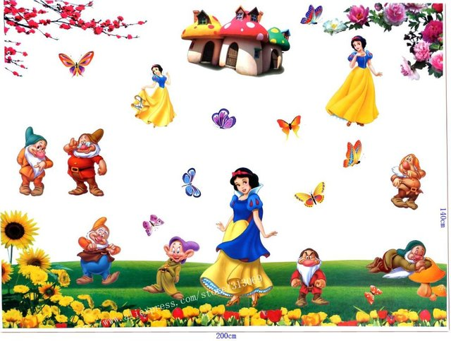 Free shipping ,assembled size 200cm*140cm, Snow White and the Seven Dwarfs,Combination Wall Stickers, cartoon stickers
