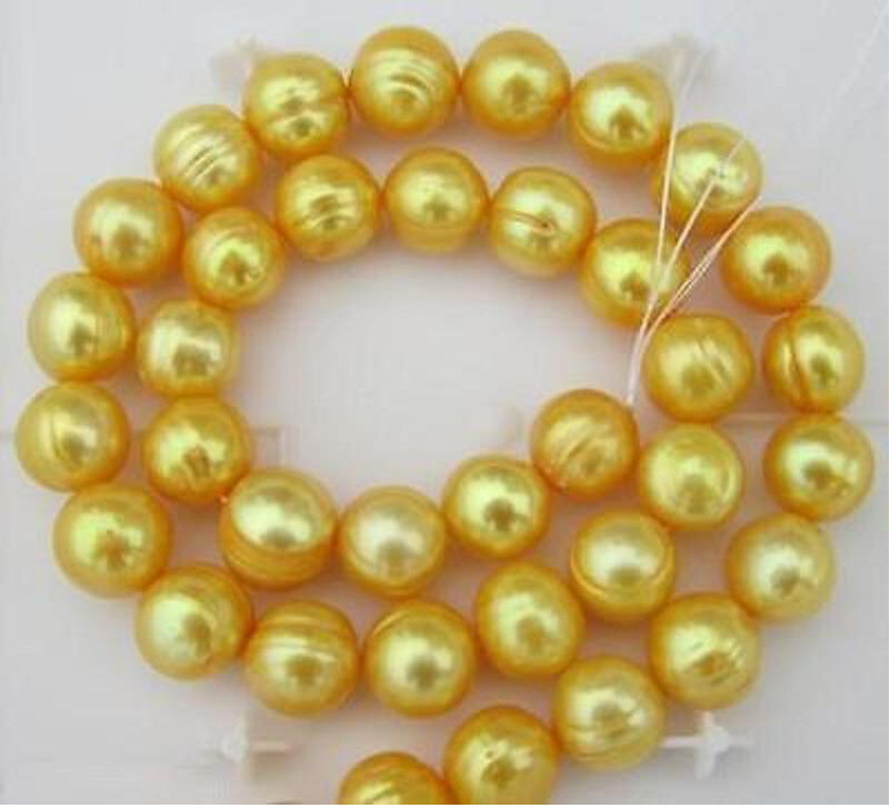 Free shipping HUGE 11-12MM NATURAL SOUTH SEA GOLDEN PEARL NECKLACE 18INCH CLASP t(China (Mainland))