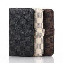 S6edge Case, 5.1 inch Curved Edge Phone Case For Samsung Galaxy S6 Edge G9250 Wallet Cover Case With Fashion Plaid Pattern New