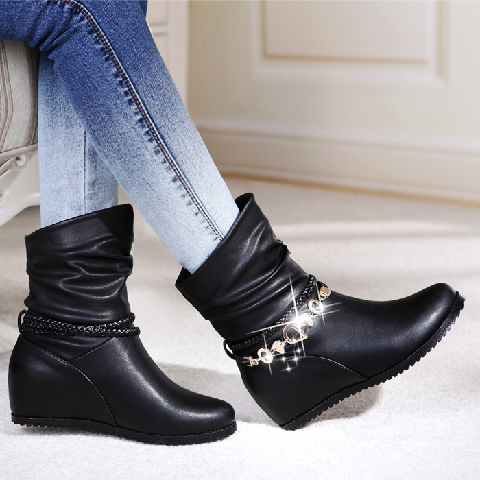 2015 autumn and winter genuine leather flat heel boots female elevator short boots cowhide women's shoes boots martin boots