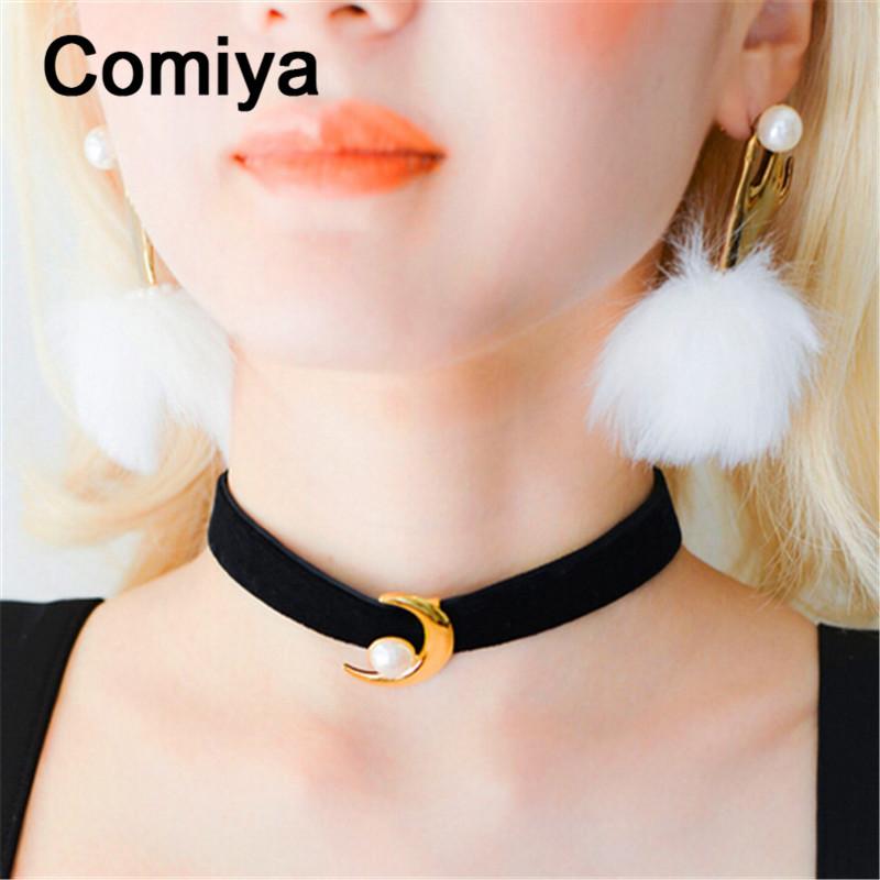 Comiya korean moon shape gold plated acrylic imitation pearl pendants choker necklaces black ribbon necklace vintage accessories(China (Mainland))