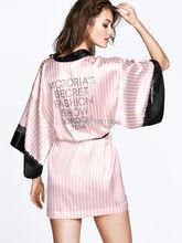 Satin Robes Bathrobe Summer Style Hot Sale sleepwear Bath silk robe black Lace Sexy Lingerie Pink Striped Sleepwear Q0072(China (Mainland))