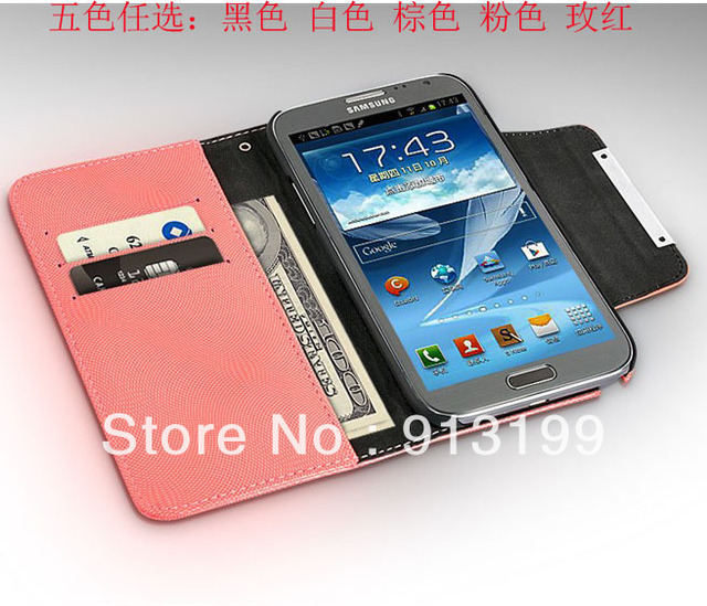 Free Shipping New Patent Leather Case for Samsung Galaxy Note 2 II N7100 7100 Wallet Case Design Carld Holder 6 Color Mix