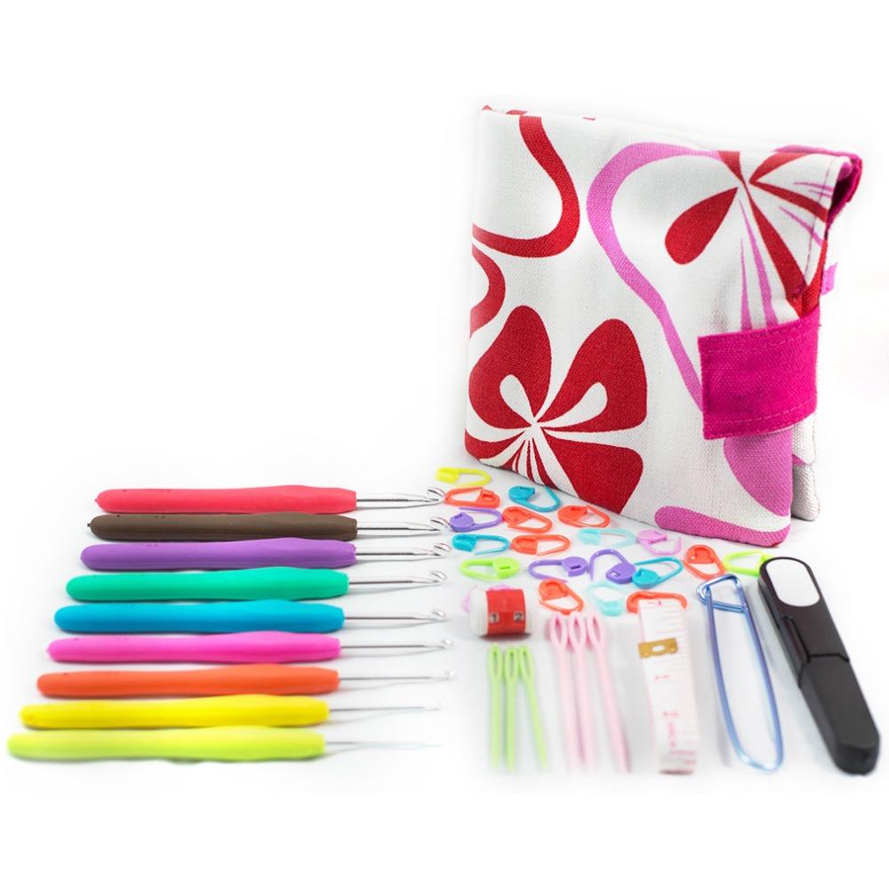 39pcs/set Colorful Soft Handle Aluminum Crochet Hooks Knitting Set Household Canvas Bag Kit Band DIY Crafts(China (Mainland))