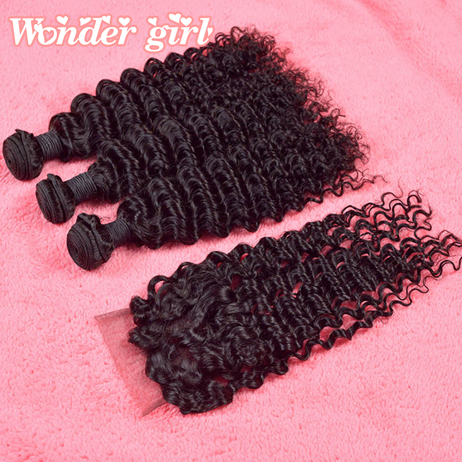 Malaysian Deep Curly Virgin Hair With Cosure 7A Grade Brazilian Deep Wave Lace Closure Queen Hair Products With Closure Bundles<br><br>Aliexpress