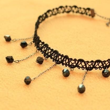 Горячая Boho воротник колье черное кружево ожерелье заявление украшения для женщин мода винтаж этническом стиле богемия бирюзовый бусины шеи
