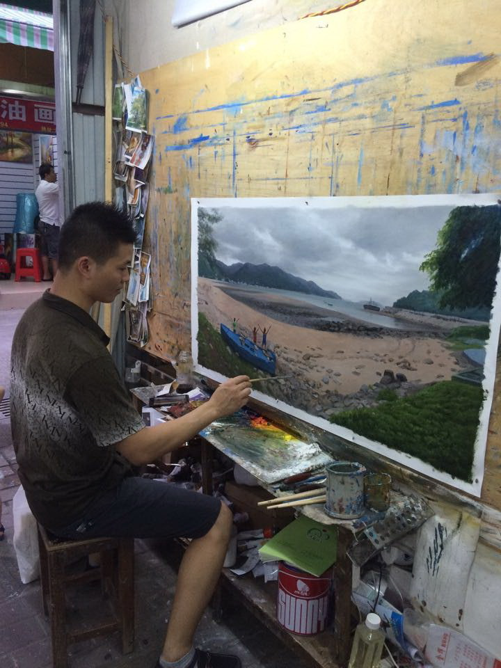 Buy Hot Sale Hand Painted  Modern Knife Canvas Oil Painting Hong Kong Street Painting Wall Picture for Home Decoration cheap