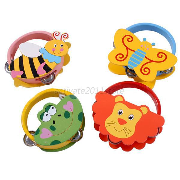Baby Tambourine Toys Instrument Cartoon Pattern kid Shaking Handbell Rattles Wooden(China (Mainland))