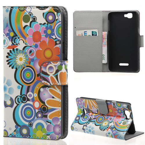 Colorful Sun Flower PU Leather Flip Stand With Card Slots Cover Case For Wiko Rainbow Smart Phone(China (Mainland))