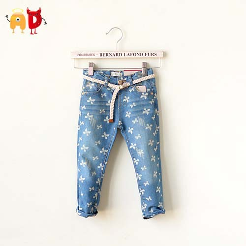Ad flowers girls jeans soft fabric kids baby girls jeans for Fabric for kids clothes