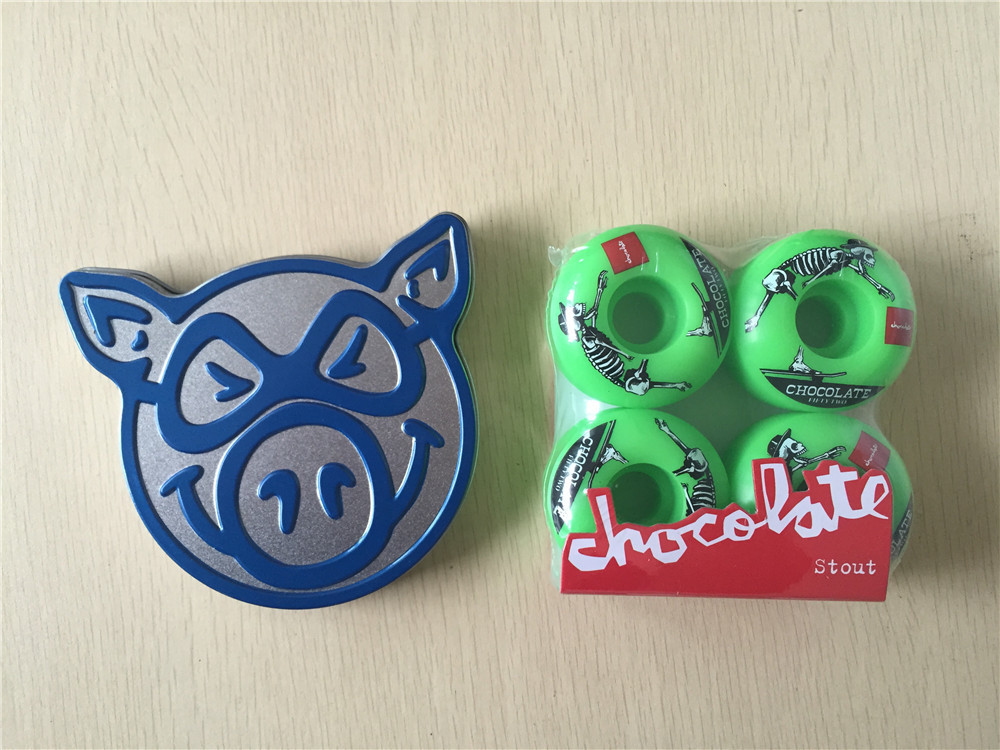 Skateboard Parts CHOCOLATE 101A Wheels & PIG ABEC-3 Bearings Skate Deck