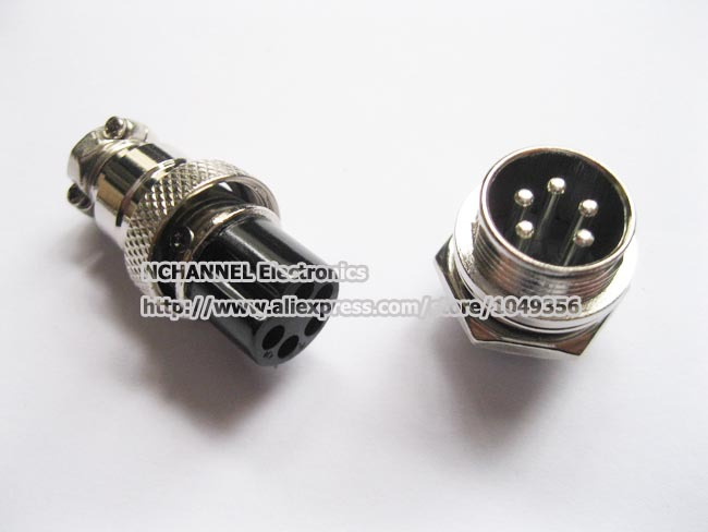XLR 5 Pins 16mm Audio Cable Connector Chassis Mount 5 Pin Plug Adapter/Free Shipping/3PCS(China (Mainland))