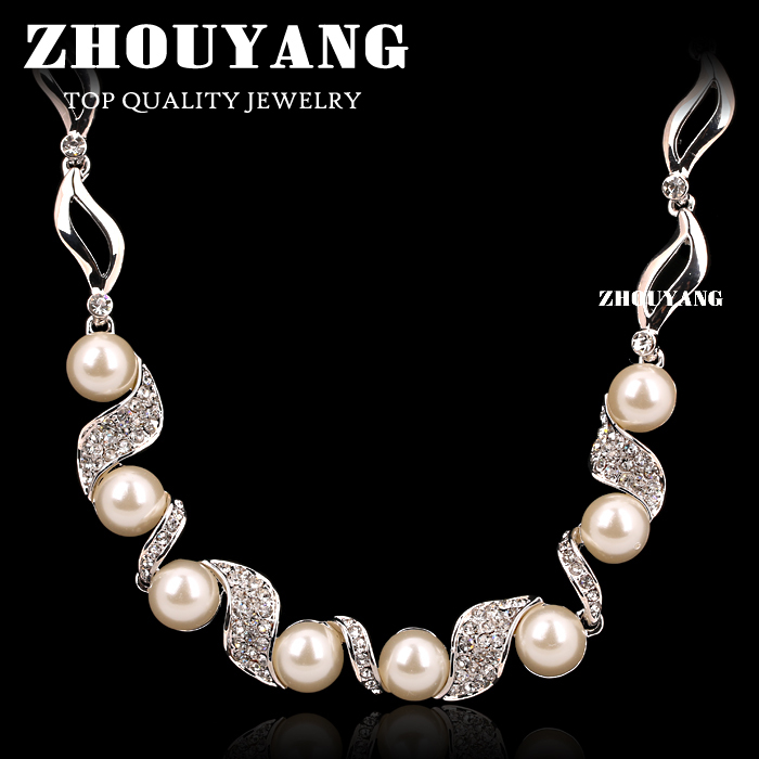 Top Quality Imitation Pearl Wedding Necklace 18K White/White Gold Plated Fashion Jewellery Pendant Crystal ZYN256 ZYN255(China (Mainland))