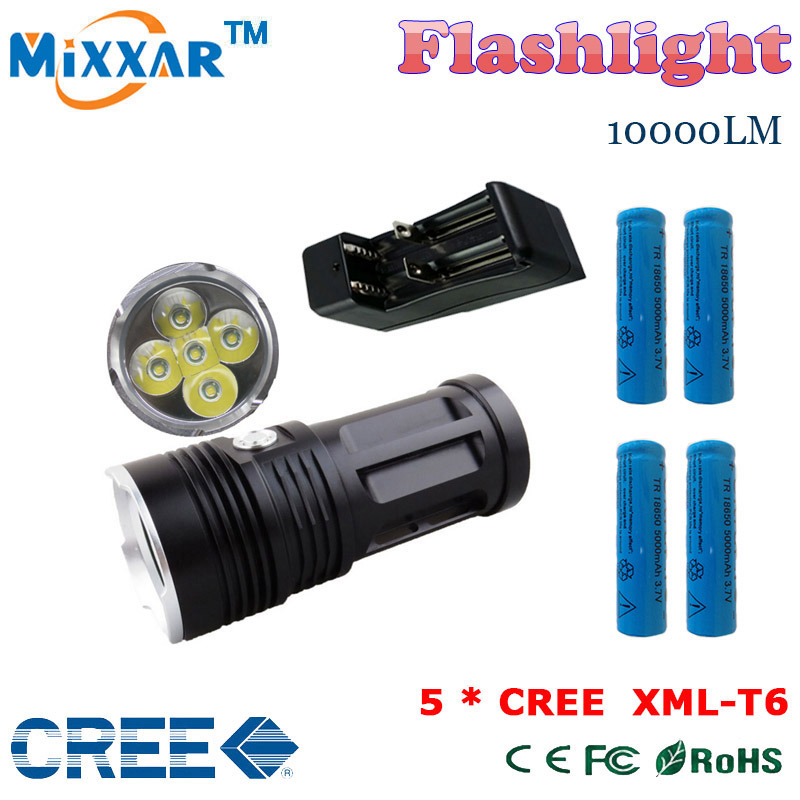 zk30 MI-5 10000LM Torch 5x Cree XM-L T6 tactical led flashlight torch and 4x18650 battery with one charger can charger 2 battery(China (Mainland))