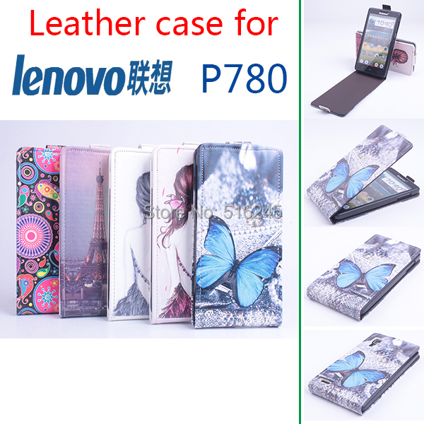 High Quality Pattern Leather wallet flip Case Lenovo P780 Leather Case Flip Cover for P780 Case Phone Cover Free Ship(China (Mainland))