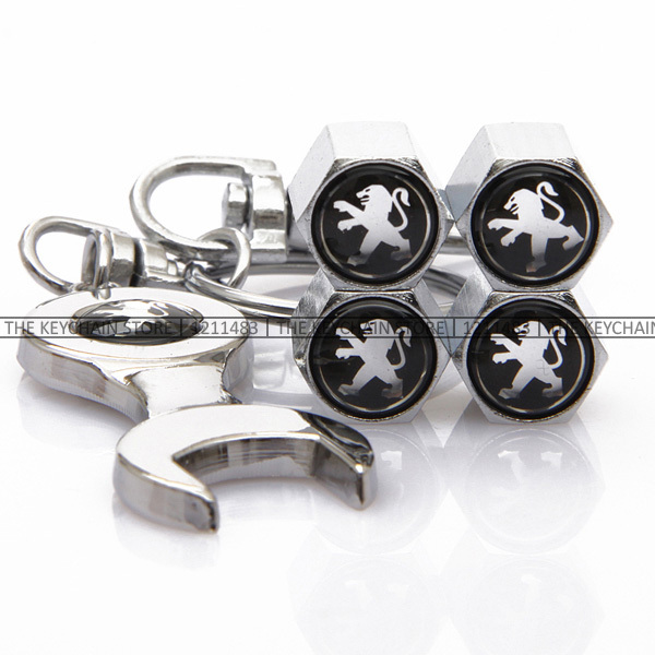 Keychain and Valve Caps for Peugeot 206 207 2008 301 307 308 3008 406 407 408 508 (5 Sets): Car Styling Emblem Keyring Gifts<br><br>Aliexpress