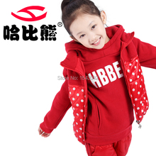 HobiBear 3color Winter girl Child Clothes Sports Sets  wadded Jacket Hooded Jacket & Pants 3 Pcs hot desighnT619(China (Mainland))