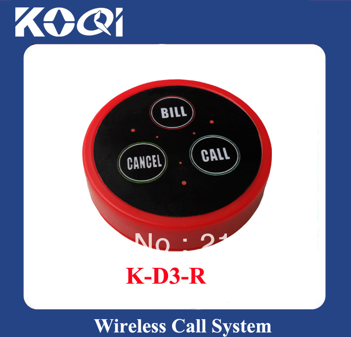 Red waiter call button K-D3-Red wireless restaurant call button Any LOGO any language accept(China (Mainland))