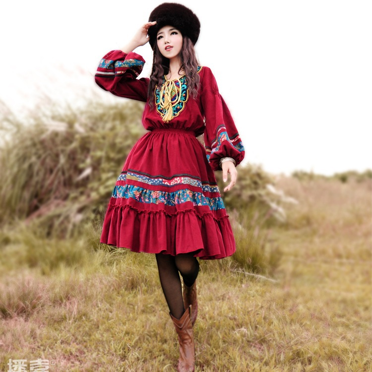 [ LYNETTE'S CHINOISERIE - BOSHOW ] Spring Original Design Women Embroidery Beading National Trend Print Patchwork Corduroy Dress(China (Mainland))