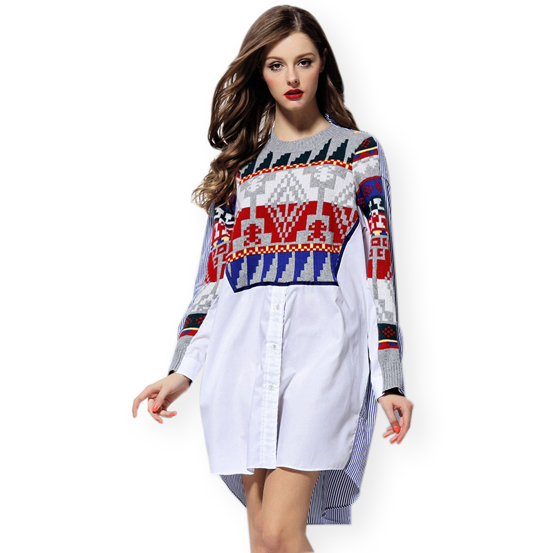 Plus Size Knitted Geometric Print Patchwork Boyfriend Shirt Women White Blue Stripe Long Dress 2015 Ladies Ethnic Casual Tops(China (Mainland))