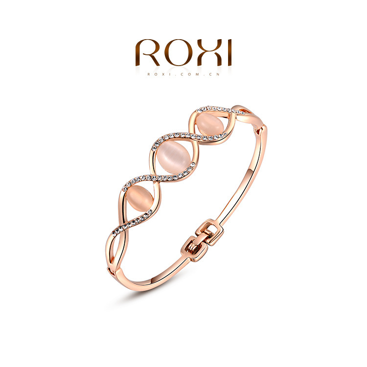 &amp;ROXI Fashion Jewelry Rose Gold Plated Statement Elegant Three Opals Bracelets For Women Party Wedding Free Shipping Bangle<br><br>Aliexpress