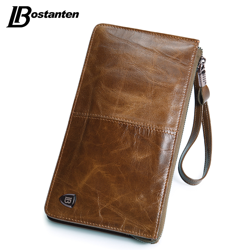 BOSTANTEN New Oil Wax Leather Men Wallets Fashion Male Clutch Purse Long Coin Purse Genuine Leather Card Holder Wallet Wristlet(China (Mainland))