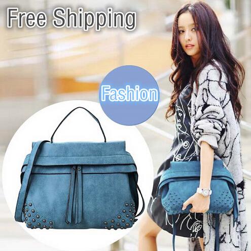 Фотография 2014 All-match fashion vintage rivet Women Handbag Women Messenger Bags Tote Leather handbags Solid Color Zipper Shoulder Bag