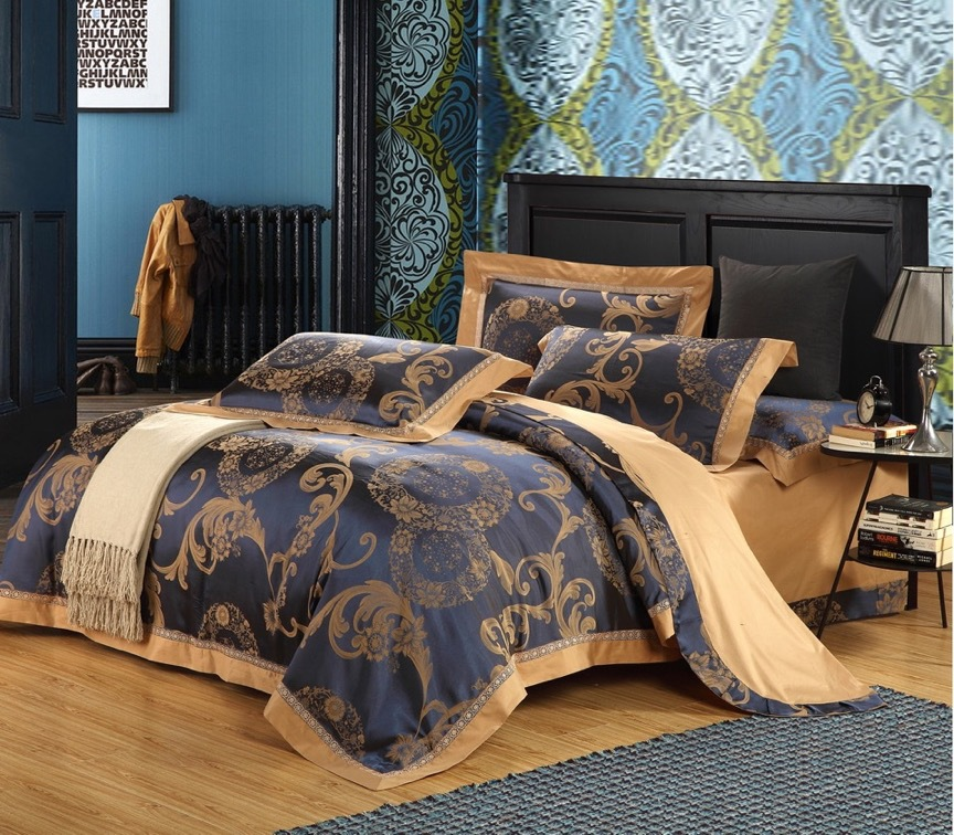 luxury bedding set queen king size jacquard damask tribute silk bed