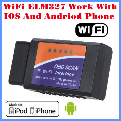 [Free Shipping]2013 New Arrival Code reader Diagnostic Tool WiFi ELM327 WiFi Work With iPhone and Android OBD-II OBD Can(China (Mainland))
