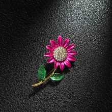 1Pc Girasole Smalto Spilla Delicato Giallo Viola Elegante Delle Ragazze Delle Donne di Strass Risvolto Spille Vestiti Accessori Dei Monili del Regalo(China)