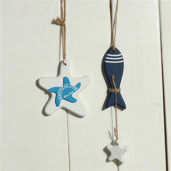 Mediterranean Starfish Hung Fish Nautical Decor hang small adorn Crafts Wood Fish/decorated marine pendant(China (Mainland))