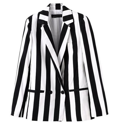 2014 новинка za черный и белый цвет контраст вертикальная полоса ударная ошейник с длинным рукавом середина долго свободного покроя пиджак костюм