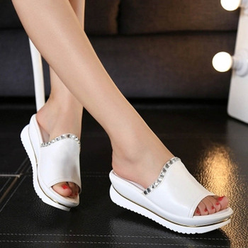 Summer 2015 new leather sandals and slippers women platform sandals shoes wedges platform shoes with comfort in Korea
